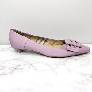 Burberry Light Purple Buckle Kitten Heel